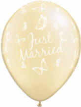 Wedding Balloons Married Butterflies (Ivory) - 11 Inch Balloons 25pcs